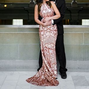 Bariano rose gold evening gown